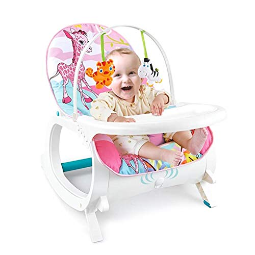 Baby Bucket Newborn to Toddler Rocker Cum Reclining Chair with Removable Tray & Soothing Vibrations and Music (Pink Giraffe)