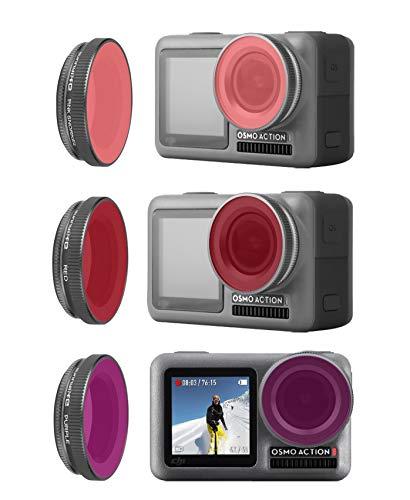 Rantow 3 Pack Osmo Action Filtro Sub, Magenta + Rosso + Rosa Sott'Acqua, Kit Filtro Obiettivo Impermeabile per DJI Osmo Action Macchina Fotografica Dive Outdoor Sport