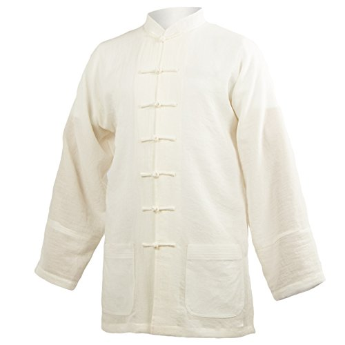 wu designs Baumwolle (Leicht) Tai Chi Oberteil Stehkragen - Taiji Shirt - Tai Chi Anzug - Kung Fu - Wushu - Weiß - 175