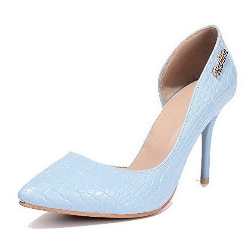 AgooLar Femme Tire à Talon Haut Matière Mélangee Couleur Unie Pointu Chaussures Légeres Bleu