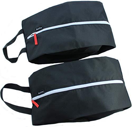 MeinDing große XL Premium Schuhtasche schwarz - 2er Set - Schuhbeutel für Reise, Koffer und Sport - bis Schuhgröße 47