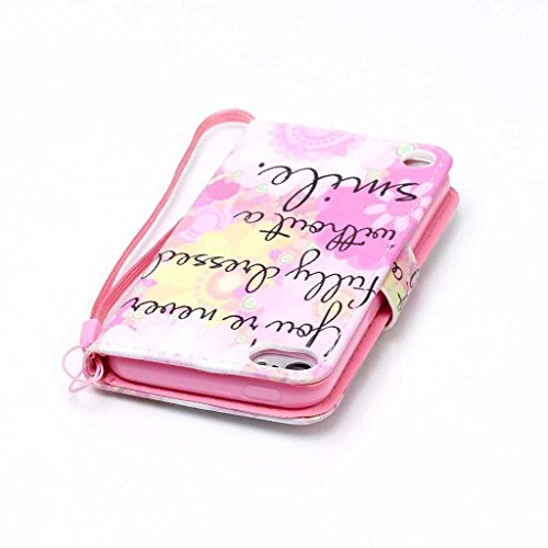 iPhone 6/iPhone 6s custodia in pelle + free tempered glass Screen Protector, Boxtii® [Slim Fit] PU Flip Case con [cinghia] [chiusura magnetica] [card/contanti slot] [cavalletto], modello colorato desi #6 Pink
