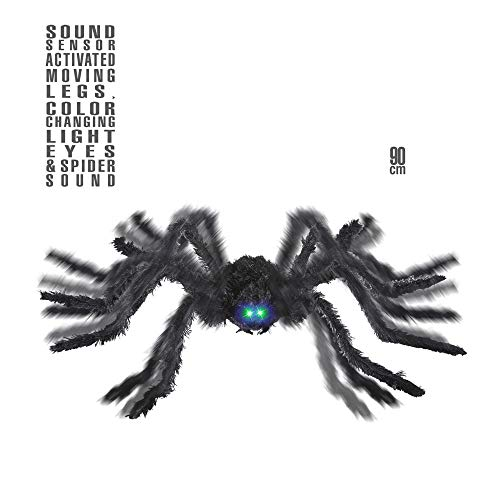 Widmann 04898 Animierte Spinne, schwarz, 90 cm