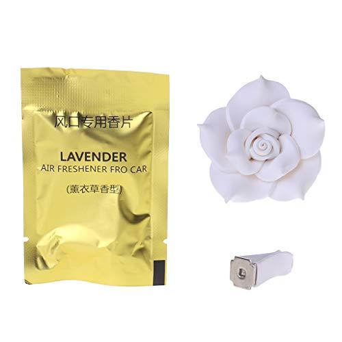 1 deodorante per auto profumato a forma di fiore, per aromaterapia, decorazione per interni, una varietà di colori disponibili. bianco
