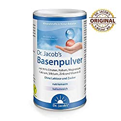 Dr. Jacob's Basenpulver für Basenfasten I Nahrungsergänzung mit besonders viel Kalium wie in Gemüse und Obst, Calcium Magnesium Zink Vitamin D I 300 g Dose Original Citrat-Basen-Pulver