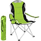 tectake Chaise de Camping Fauteuil Pliable avec Porte-boissraon et Sac de Tnsport - Rembourrage en Mousse (Vert) Ø Cadre: Environ 20 mm