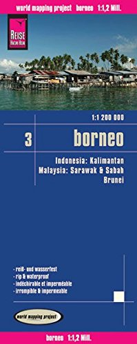 Indonesia 3: Borneo, mapa de carreteras impermeable. Escala 1:1.200.000. Reise Know-How. (112m)