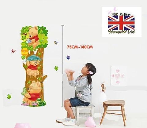 Winnie The Pooh Wachstumstabelle Wandaufkleber, Kinder Schlafzimmer, Kinderzimmer-Wand-Aufkleber F33 DE