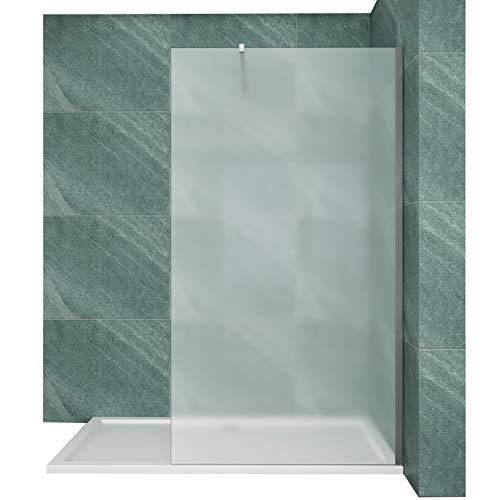 Walk in Duschwand Duschabtrennung 8mm ESG Nano Glas–120x195cm satiniert Duschtrennwand mit Stabilisierungsstange
