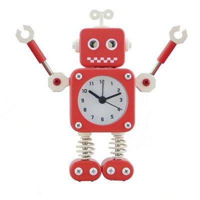Cunclock Wecker Creative Student's Bett kinder cartoon Wecker stumm Schlafzimmer Metall faul Roboter Uhren rot Feder bein
