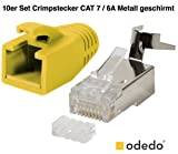 odedo 10er Pack Crimpstecker Gelb Cat 7, Cat 7A, Cat 6A für Verlegekabel bis 8mm 10GBit Gigabit Ethernet starre Oder Flexible Adern 1.2mm-1.45mm RJ45 Stecker Metall geschirmt mit Einfädelhilfe