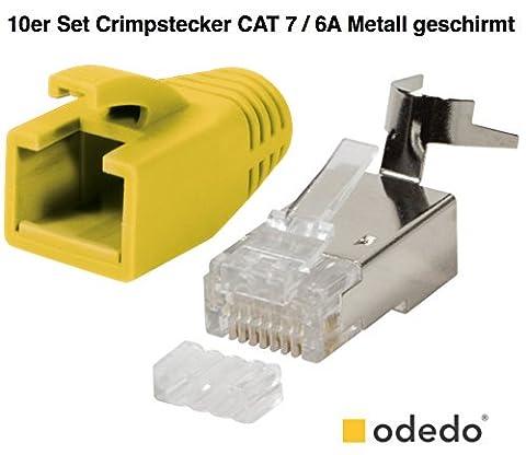 odedo® 10er Pack Crimpstecker gelb CAT 7, CAT 7A, CAT 6A für Verlegekabel bis 8mm 10GBit Gigabit Ethernet starre oder flexible Adern 1.2mm-1.45mm RJ45 Stecker Metall geschirmt mit Einfädelhilfe
