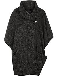 WearAll - Damen Kapuze Hals Schaltfläche Geöffnet Tasche Hülle Umhang Strickjacke Jacke Poncho - 2 Farben - Größe 36-54