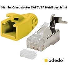 odedo® 10unidades Crimp conector Amarillo Cat 7, cat 7a, cat 6A para cat5sh–Hasta 8mm 10Gbit Gigabit Ethernet Starre o flexible conductores 1.2mm de 1.45mm RJ45conector metal (apantallados con asistente