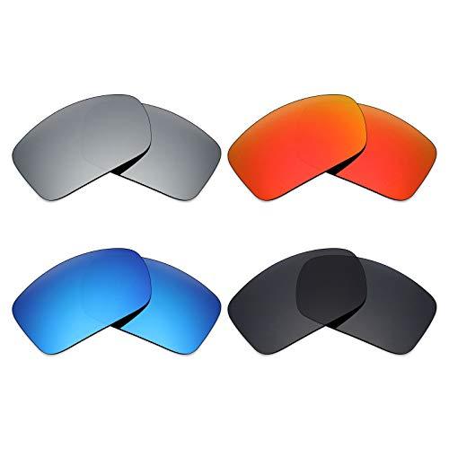 MRY 4Paar Polarisierte Ersatz-Objektive für Arnette Gefrierschrank AN4155sunglasses-stealth schwarz/fire rot/ice blau/silber titan
