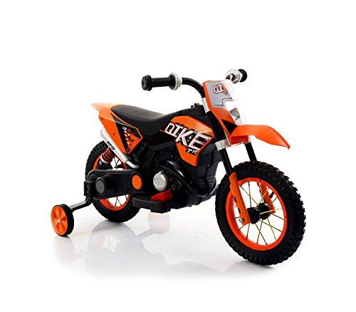 Motocicletta elettrica LT876 per bambini MOTO CROSS BABY ruote gonfiabili. MEDIA WAVE store ® (Arancione)