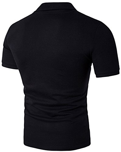 Whatlees Herren Urban Basic schmale Passform Polohemd mit Bunt Druckmuster und Stickerei B526-Black
