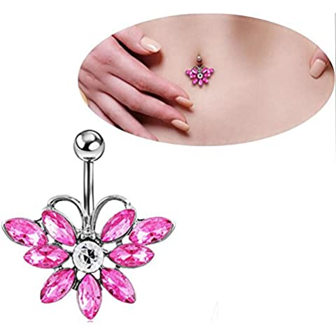14g 3/8'' Stainless Steel Banana Barbell Pink Rhinestone Flower Navel