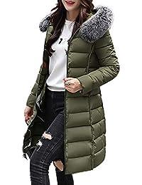HANMAX Manteau de Coton Réversible avec Capuche Fourrure Fausse Doudoune  Femme Longue Hiver Chauden Duvet de 9547743bd08
