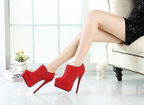 HeiSiMei Talons Femmes / bottes courtes / Talon Stiletto / orteil rond / Plate-forme étanche épaisse / Peep Toe Pompes / Nightclub / Soirée & Soirée / Hommes / Unisexe RED-EU42