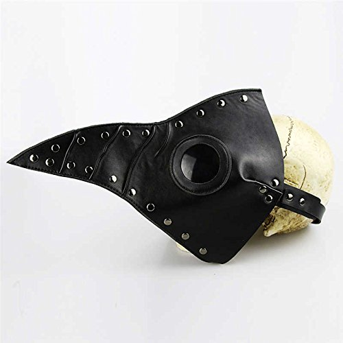 y Maske Pest Arzt Cosplay Steampunk PU Leder Maske schwarz (Halloween-die Besten Masken)