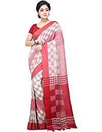 Wooden Tant Handloom Weaving Block Print Soft Cotton Saree In White And Red