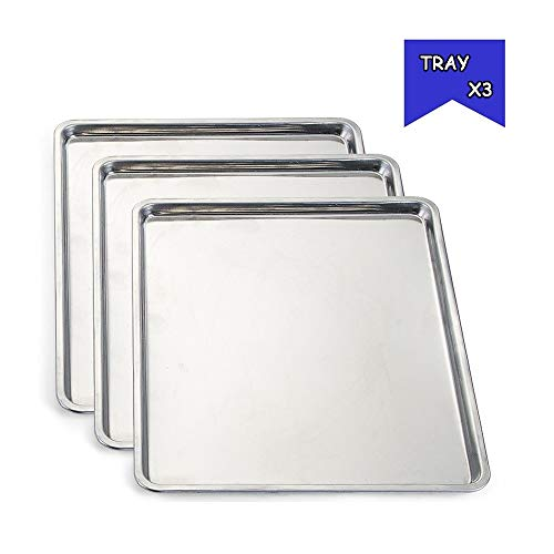 LiRongPing Schnellimbiss-Behälterknödel der Edelstahlgrillbehälter-Kantine Starke Platte (Color : Trayx3)