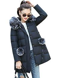 Sentao Mujer Abrigo de Invierno Cremallera Acolchado Chaqueta Largo con Faux Pelaje Collar de manga larga Parka