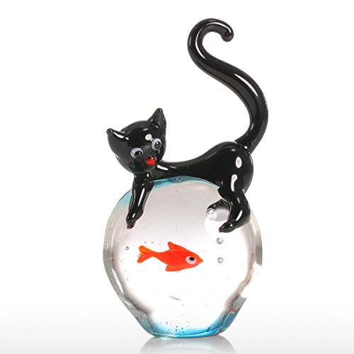 Tooarts Glasskulptur Dekofigur Tier Skulptur aus Glas Katze und Goldfisch Handarbeit