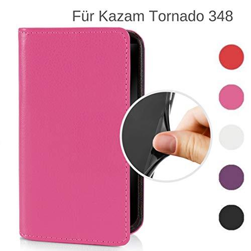 MOKASY Tornado 348 Hülle kompatibel mit Kazam ☑️ Tornado 348 ☑️ unzerbrechliche Schutzhülle Handyhülle aus Silikon mit Magnetverschluss und Fach Pink