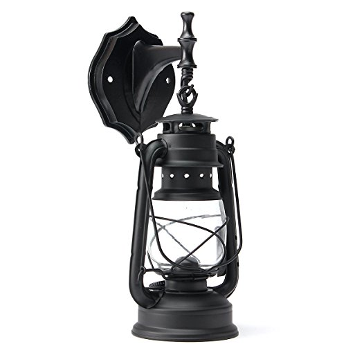 KING DO WAY E27 Vintage Applique Lampe Lanterne Murale Abat-jour Éclairage Mural En Métal Verre Décoration Intérieur Extérieur Maison Chambre Bar Café Jardin Balcon Wall Lamp (Sans Ampoule) Noir