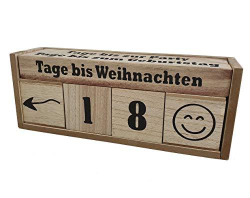 Spetebo Holz Countdown Würfel XXL für 8 Ereignisse - Deko Holzwürfel Würfelkalender Dauerkalender Natur Holz