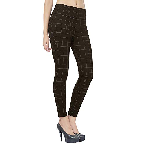 Helisha Hosiery Cotton Knee Cut Ripped Ankle-Length Gym legging for Women(FREE-SIZE) 28-34 Size (BLACK-CHEX, Free Size)