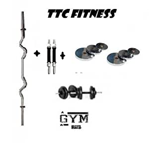 TTC FITNESS 20 KG CHROME STEEL WEIGHT PACKAGE WITH 3 RODS