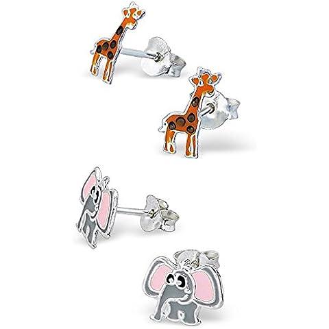 SL-Silver–Set di kinderohr anelli Elefante e giraffa