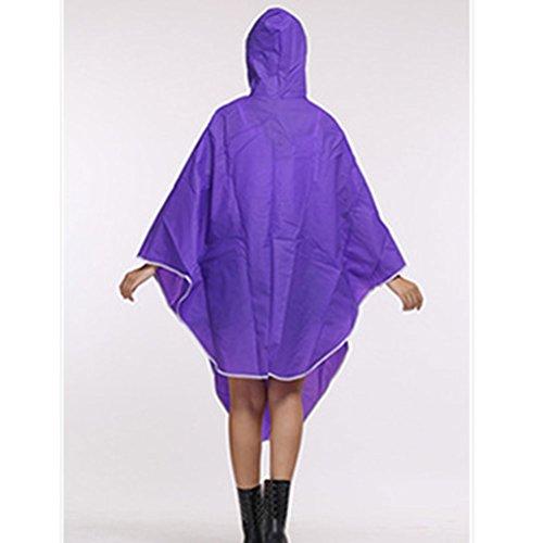 Zhhlinyuan Fashion Portable Bike Solid color Waterproof Raincoat Poncho purple