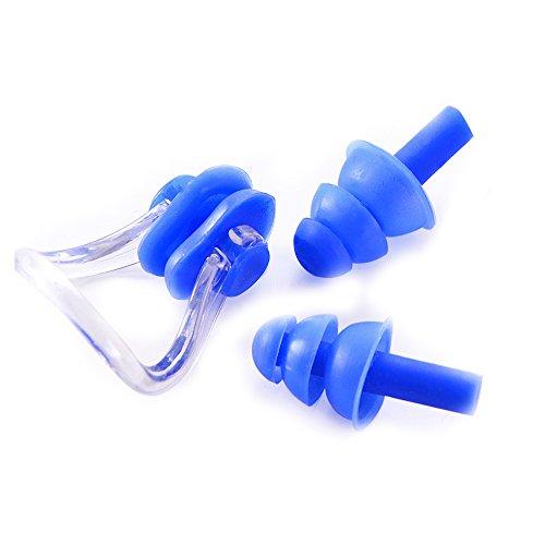 Isuper -Set de Pinzas de Nariz y Tapones para los oídos,Natación Protector de Nariz y oídos de Silicona Suave Unisex Nose Clip + Ear Plugs (Azul)