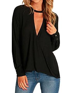 StyleDome Mujer Camiseta Mangas Largas Blusa Playa Cuello Pico Elegante Oficina Casual