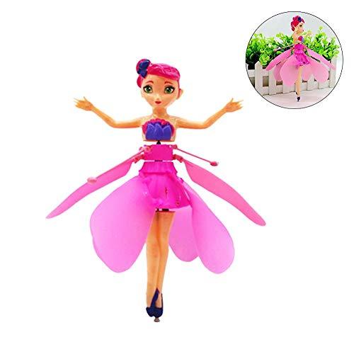 iBaste_Kinder Fliegende Fee Puppe, Fliegende Blume Fee Puppe, Fliegende Prinzessin Fee Drohne Puppe mit Lichtern Infrarot Induktionssteuerung RC Hubschrauber Kinderspielzeug