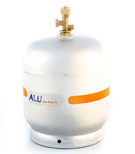 Alu Propangasflasche / Gasflasche 2,7 kg mit abnehmbaren Gasventil (Propan-Gasflasche Aluminium Marine, Caravan, Camping-Kocher Alu-mini Gas-Flasche Camping-gaz-grill, kleiner als 3 kg/ 5 kg / 11 kg)