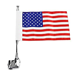 Ahomi Motorcycle Rear Luggage Rack Flag Pole+ USA Flag for Honda Goldwing GL 1800
