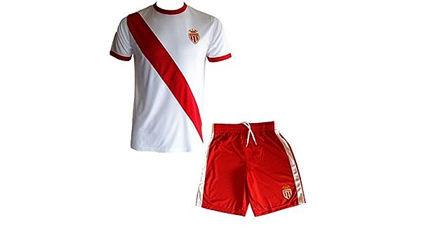 AS Monaco - Maglietta e pantaloncini della squadra di calcio AS Monaco, collezione ufficiale ASM FC, misura: da bambino