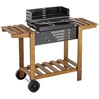 Barbecue a carbone, Rettangolo su carrello in legno con dessertes laterali e piattaforma di appoggio