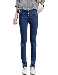Mena UK- Spring Women Wild High cintura Slim Was Thin Elasticidad Lavado con agua Pies de lactancia Pantalones Pantalones lápiz Pantalones estiramiento ( Color : Indigo Blue , Tamaño : 29 )