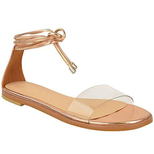 NUOVO da donna basse caviglia CRAVATTA Up sandali estivi PERSPEX Gladiatore Scarpe Numeri rosa dorato metallizzato