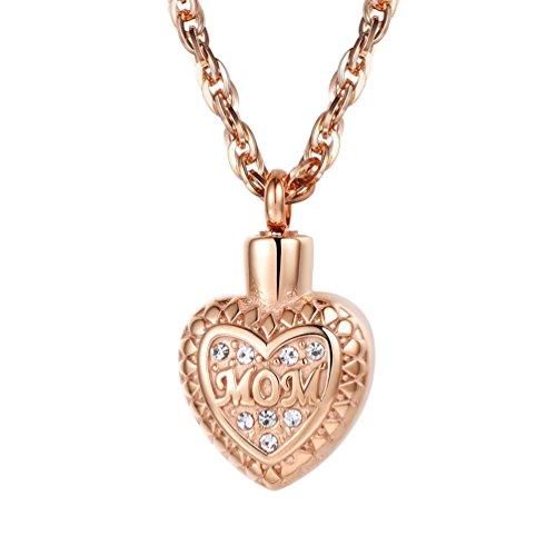 Herz-parfüm-flasche (PROSTEEL Anhänger Halskette, Herz Parfüm Flasche Anhänger Rosegold vergoldet Englische Wort MOM Aroma Diffusor Ätherische Öle Diffusor mit 60cm Kette)