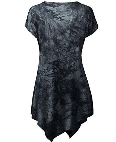 NiSeng Damen Drucken Slim Fit Rundkragen Kurzarm Asymmetrisch Hem Tunika Tops Kurzarmshirt Sommer Bluse T-Shirt Schwarz