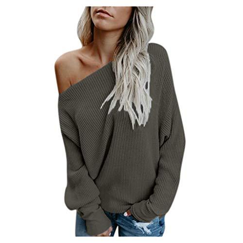 OUICE Femme Sweater Manches Chauve-Souris Pull À Épaules Dénudées en Vrac Confortable Automne Et Hiver Casual Tricoter Chandail Jumper Tops 2019