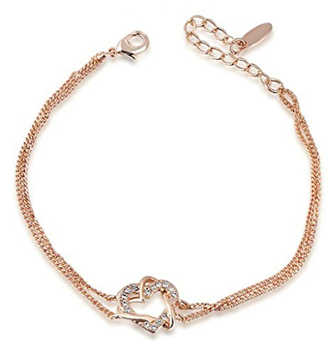 AnazoZ 18K Vergoldet Armbänder, Damen Kette Armbänder Runde Circle Doppel Herzen Wound Rose Gold