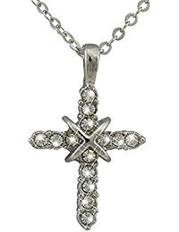 6e162d679d01 hanessa Cruz Colgante Collar en plata de mujer joyas dorados brillantes  Jesús Cristo Religión regalo para